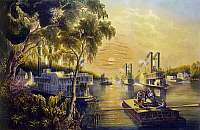 0163386 © Granger - Historical Picture ArchiveBOATS ON THE MISSISSIPPI.   Life on the Mississippi River in time of peace. Lithograph by Currier & Ives, 1865.