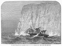 0099575 © Granger - Historical Picture ArchiveCOLLISION WITH ICEBERG.   White Star Line's new flagship, the screw steamship 'Royal Standard' colliding with an iceberg in the South Atlantic, 4 April 1864, on the way from Melbourne, Australia, to England. Wood engraving   from a contemporary English newspaper.