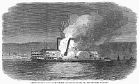 0099576 © Granger - Historical Picture ArchiveSTEAMBOAT BURNING, 1863.   The burning of the riverboat 'Isaac Newton' on her way up the Hudson River from New York to Albany, December 1863. Wood engraving from a contemporary English newspaper.