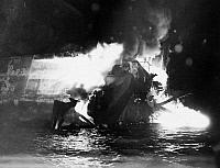 0099583 © Granger - Historical Picture ArchiveCOLLISION AND FIRE.   The tanker USS Mission San Francisco aflame after the collision on the Delaware River with the Liberian freighter 'Elna,' 7 March 1957.