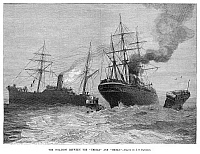 0265759 © Granger - Historical Picture ArchiveSHIP COLLISION, 1888.   The collision between the ocean liners RMS Umbria of the Cunard Line and the SS Iberia of the Fabre Line, near Sandy Hook in New York Bay on 10 November 1888. The SS Iberia sank.