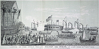 0047330 © Granger - Historical Picture ArchiveFULTON STEAM FRIGATE, 1814.   Launch of the Fulton Steam Frigate (also known as 'Demologos' and 'Fulton the First') at New York City, 29 October 1814. Designed by Robert Fulton, the Fulton Frigate was the first steam-powered warship built for the U.S. Navy. Lithograph, 1852, after a line engraving of 1815.