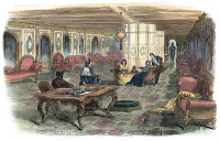 0051912 © Granger - Historical Picture ArchiveSTEAMSHIP 'PACIFIC.'   The grand salon of the American steamship 'Pacific' built for transatlantic service. Wood engraving, American, 1856.