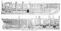 0088627 © Granger - Historical Picture ArchiveSHIPS: GREAT EASTERN, 1858.   Cross section of the British steamship 'Great Eastern,' christened 'Leviathan' in 1857. Wood engraving, English, 1858.