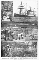 0088790 © Granger - Historical Picture ArchivePASSENGER STEAMSHIP, 1888.   First class facilities onboard the Norddeutscher Lloyd Steamship Company's 'Lahn.' Wood engravings from an American newspaper of 1888.