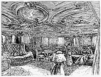 0100027 © Granger - Historical Picture ArchiveSTEAMSHIP SALON, c1890.   The salon onboard a German transatlanctic passenger ship. Wood engraving, c1890.