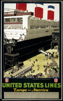 0130294 © Granger - Historical Picture ArchiveUNITED STATES LINES.   The SS Leviathan docked at Southampton. Advertisement poster for United States Lines transatlantic ocean liners, c1920.