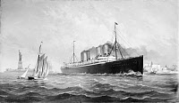 0167264 © Granger - Historical Picture ArchiveS.S. DEUTSCHLAND, c1899.   The S.S. Deutschland of the Hamburg-American S.S. Company departing from New York Harbor. Painting by Fred Pansing, c1899.
