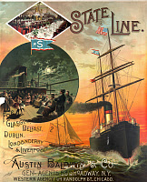 0167268 © Granger - Historical Picture ArchiveTRAVEL POSTER: STATE LINE.   Travel poster for State Line ocean liners, featuring the ship 'State of Nebraska,' and views of the dining room and ship deck. Chromolithograph, c1889.