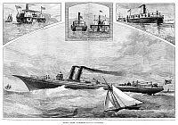 0265240 © Granger - Historical Picture ArchiveSTEAMSHIPS, 1882.   'Recent Marine Inventions,' including Fryer's buoyant propeller ship, a canal towboat and a new 'mastless' steamship. Engraving, American, 1882.