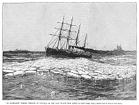 0266014 © Granger - Historical Picture ArchiveSHIP: LA CHAMPAGNE, 1890.   The passenger ship, 'La Champagne,' passing through ice during a voyage from Havre to New York City. Engraving, American, 1890.