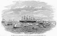 0268519 © Granger - Historical Picture ArchiveSHIP: GREAT EASTERN, 1860.   The British iron steamship 'Great Eastern' at New York Harber. Wood engraving from a sketch taken from New Jersey, 1860.