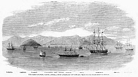 0268521 © Granger - Historical Picture ArchiveCHINA: BRITISH FLEET, 1860.   'The Fleet in China Under Admiral Jones Assembled Off Kintang Prior to the Occupation of Chusan,' during the Second Opium War. Wood engraving, English, 1860.