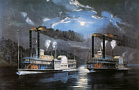 0011663 © Granger - Historical Picture ArchiveRACE ON MISSISSIPPI, 1850s.   'A Midnight Race on the Mississippi River.' The paddle steamers 'Natchez' and 'Eclipse' racing on the Mississippi River at night, 1850s. Lithograph, 1860, by Currier & Ives.