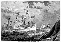 0088660 © Granger - Historical Picture ArchiveEXCURSION STEAMERS, 1878.  Steamboats bringing New Yorkers to the Rockaways on Long Island for a daytrip of a longer stay on the oceanfront. Wood engraving, American, 1878.