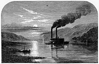 0099886 © Granger - Historical Picture ArchiveSTEAMBOAT AT NIGHT, 1861.   Steamboats in moonlight on the Ohio River. Wood engraving from an English newspaper of 1861.