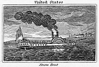 0099899 © Granger - Historical Picture ArchiveSTEAMBOAT, c1835.   Wood engraving, American, c1835.