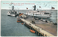 0128458 © Granger - Historical Picture ArchiveBLOCK ISLAND: STEAMBOATS.   Steamboats from New York and from New London, Connecticut, at the pier on Block Island, Rhode Island. American postcard, c1905.