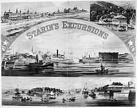 0130291 © Granger - Historical Picture ArchiveSTEAMBOAT EXCURSIONS, c1878.   Locations of luxury excursions around New York, on steamboats owned by John Henry Starin. Lithograph, c1879.