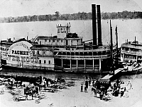 0165558 © Granger - Historical Picture ArchiveMISSISSIPPI STEAMBOAT, c1865.   The 'Silver Moon,' steamboat of the Memphis & Cincinnati Packet Line, on the levee in Memphis, Tennessee, next to the 'Sir William Wallace.' Photographed c1865.