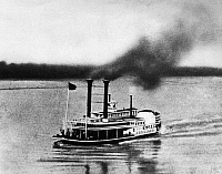 0165559 © Granger - Historical Picture ArchiveSTEAMBOAT RACE, 1870.   The steamboat 'Robert E. Lee' nearing the finish line in its victorious race up the Mississippi River against the 'Natchez,' from New Orleans, Louisiana to St. Louis, Missouri, 4 July 1870.