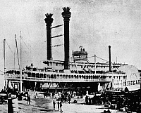 0165560 © Granger - Historical Picture ArchiveMISSISSIPPI STEAMBOAT, c1870.   The steamboat 'Robert E. Lee' docked along the Mississippi River. Photographed c1870.