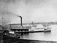 0165562 © Granger - Historical Picture ArchiveMISSISSIPPI STEAMBOAT, c1875.   The packet steamer 'James Howard' at the confluence of the Mississippi and Ohio Rivers in Cairo, Illinois. Photographed c1875.