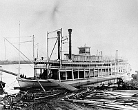 0165564 © Granger - Historical Picture ArchiveMISSISSIPPI STEAMBOAT, c1896.   The 'Bluff City,' sternwheel steamboat of the Anchor Line, moored along the Mississippi River some time between its launching in 1896 and its destruction in a fire at Chester, Illinois, in 1897.