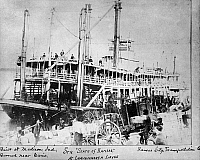 0165586 © Granger - Historical Picture ArchiveMISSOURI RIVER STEAMBOAT.   The steamboat 'State of Kansas' moored along the levee at Leavenworth, Kansas, on the Missouri River. Photographed c1895.