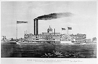 0176340 © Granger - Historical Picture ArchiveSTEAMBOAT: 'MAYFLOWER.'   High pressure steamboat 'Mayflower' on the Mississippi River. Lithograph, c1855.