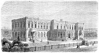 0076584 © Granger - Historical Picture ArchivePALACE OF THE VICE-KING.   View of the Gezira Palace in Cairo, residence of Ismail Pasha, Khedive of Egypt. Wood engraving, French, 1869, after a drawing by Michel Charles Fichot.