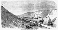 0087021 © Granger - Historical Picture ArchiveSUEZ CANAL, 1869.   View from the African shore of the Suez Canal at El-Guisr. Wood engraving from a French newspaper of 1869.