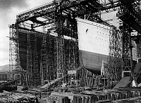 0109479 © Granger - Historical Picture ArchiveTITANIC: CONSTRUCTION, c1910.   View of the 'Olympic' (left) and 'Titanic' under construction at the Harland & Wolff shipyards, Belfast, Ireland. Photographed c1910.