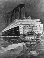 0185427 © Granger - Historical Picture ArchiveTITANIC: SHIPWRECK, 1912.   Cross-section of the RMS 'Titanic' showing the iceberg breaking through the double bottom on 14 April 1912.