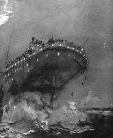0371150 © Granger - Historical Picture ArchiveTITANIC: SINKING, 1912.   The 'Titanic' 15 minutes before she sank, on the night of 14-15 April 1912. Contemporary English drawing.