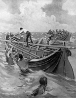 0371165 © Granger - Historical Picture ArchiveTITANIC: LIFEBOATS, 1912.   Men opening up the folding lifeboats of the 'Titanic' after being lowered into the ocean. English illustration, 1912.