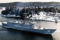 0126953 © Granger - Historical Picture ArchiveGUIDED MISSILE FRIGATE.   USS Clifton Sprague photographed in New England during sea trials, 1983. The ship's decks are covered by a thin layer of snow.