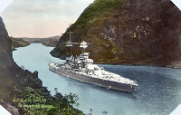 0623259 © Granger - Historical Picture ArchiveUSS COLORADO, c1930.   The United States Navy battleship USS Colorado navigating the Panama Canal. Colorized photograph, c1930.