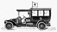 0079302 © Granger - Historical Picture ArchiveAMBULANCE, c1914.   Line engraving, French, circa 1914.