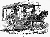 0079303 © Granger - Historical Picture ArchiveCRIMEAN WAR: AMBULANCE.   A two-wheeled, horse-drawn ambulance used by the British Army during the Crimean War. Wood engraving, 1854.