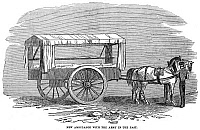 0079304 © Granger - Historical Picture ArchiveCRIMEAN WAR: AMBULANCE.   A two-wheeled, horse-drawn ambulance used by the British Army during the Crimean War. Wood engraving, 1854.