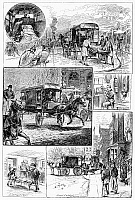 0102760 © Granger - Historical Picture ArchiveNEW YORK: AMBULANCE, 1884.   The New York Ambulance Service receiving a patient at a fire and transporting him to Bellevue Hospital. Wood engraving, American, 1884.