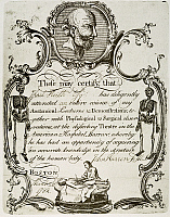 0011224 © Granger - Historical Picture ArchiveREVERE: CERTIFICATE, 1782.   Engraved certificate of attendance by Paul Revere for Dr. John Warren's anatomical lectures at the American Hospital, Boston, Massachusetts, 28 March 1782, depicting a bust of Galen at the top and an anatomical dissection at the bottom.