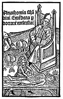 0065308 © Granger - Historical Picture ArchiveMEDICAL TEACHING, 1487.   The physician in the chair directs the dissection being performed by an assistant: woodcut title-page from the 'Anatomy' of Mundinus, published at Padua in 1487.