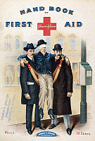 0096278 © Granger - Historical Picture ArchiveHANDBOOK: FIRST AID.   First aid handbook published by the Johnson & Johnson Company, New Brunswick, New Jersey, 19th century.