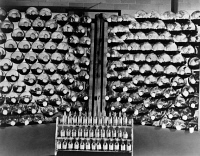 0621998 © Granger - Historical Picture ArchivePENICILLIN, c1942.   Ampoules of pencillin and racks of culture bottles used in its production. Photograph, c1942.