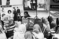 0125865 © Granger - Historical Picture ArchiveINDIA: FAMILY PLANNING.   In a village near New Delhi, a social worker explains the process of conception to wives who, with their husbands, follow a course in family planning. Photograph, 1972.