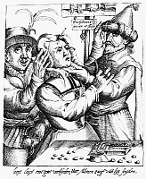 0012000 © Granger - Historical Picture ArchiveQUACKS, 17th CENTURY.   Operation for stones in the head (a quack pretending to cure insanity by making a superficial incision in the head, and feigning to extract small stones supplied by a confederate from behind). Copper engraving, Dutch, early 17th century.