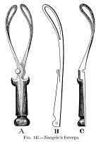 0016821 © Granger - Historical Picture ArchiveCHILDBIRTH: FORCEPS, c1880.   A diagram of Naegele's forceps, used in delivering babies. Line engraving, c1880.