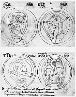 0071239 © Granger - Historical Picture ArchiveSORANUS (fl. 2nd CENTURY).   Positions of the fetus in utero. From a 12th century manuscript.